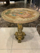 Rare Colored Antique Oriental Wine Side Lamp Table Chinese Vtg Carved Resin