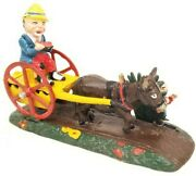 Vintage Cast Iron Mechanical Bank Bad Accident Scare Donkey And Cart Taiwan
