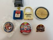 Vintage Lot Campbell Soup Employee Gold Sales Coin Safety Lock Year Olympic Pin