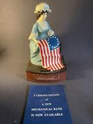 Betsy Ross Vintage Cast Iron Mechanical Coin Bank Hand Painted -loose Hat