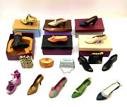 Lot Of 17 Just The Right Shoe / Style Miniature Shoe And Purse Collection