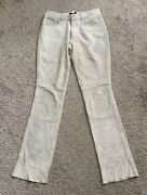 Guess Womens Size 4 Beige Suede Leather Pants 33 Inseam Lined