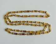 Vintage Trombone Link Necklace 14kt Yellow Gold 30andrdquo Long 20 Grams