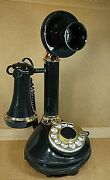 Vintage 1970s Western Electric Rotary Candlestick Telephone Black With Gold Trim