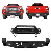 Hooke Road Textured Steel Stubby Front Bumper + Rear Bumper Fit 16-21 Tacoma