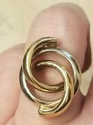 Mayors Birks Vintage 2 Tone 14k White And Yellow Gold Twist Circle Crossover Ring
