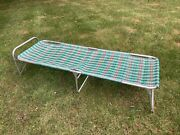 Retro Vintage Aluminum Plaid Folding Camping Cot Mobile Bed Outdoors Tent Nice