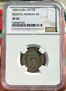 🔥rare🔥silver Medal Proclamation Isabel Ii. 1834. Bejucal Cu8a. Ngc Xf45