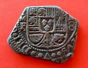 🔥rare🔥silver Coin 8 Reales Type Klippe Philip V 1733. Mexico Mint M.f