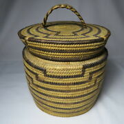 Vintage Pima Hand Woven Basket With Lid 8 1/2 Tall