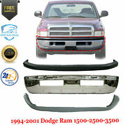 Front Bumper Chrome Upper And Lower Cover For 1994-2002 Dodge Ram 1500 2500 3500