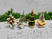 Lot If 4 Decorated Christmas Village Trees