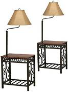 Traditional Floor Lamps Set Of 2 With End Table Cherry Bronze Decor Living Room