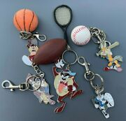 Vtg 90s Looney Tunes Keychain Figure Lot Taz Bugs Bunny Wile E. Coyote Space Jam