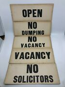 Lot Of 6 Vintage Signs No Vacancy No Dumping Soliciting Open Hotel Store Shop