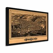 1882 Ithaca New York Map - Framed Vintage Ithaca New York Map Wall Art Poster