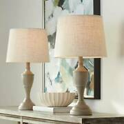 Farmhouse Chic Accent Table Lamps Set Of 2 Beige Washed For Living Room Bedroom