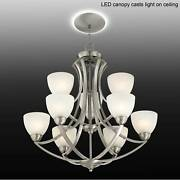 Satin Nickel Chandelier 30 Led Canopy Glass Shades 9-light Fixture Dining Room