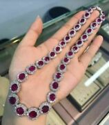 18 Inch Halo Oval Ruby Sapphire Halo Designer Choker Necklace In 10k White Gold