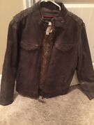 32 Bar Blue Brown Menand039s Leather Jacket Large New Motorcycle Retail 600 Bomber
