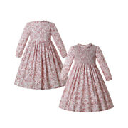 Kids Girls Smocked Dress Birthday Clothes Flower Party Dresses Pink 2-12 Years