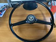 Vintage 1960and039s Austin Healey Car Steering Wheel And Horn Button
