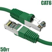 50ft Cat6 Lan Network Ethernet Router Sstp Shielded Patch Cable Molded Green