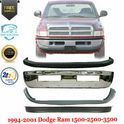 Front Bumper Chrome + Upper And Lower Cover For 1994-2002 Dodge Ram 1500 2500 3500
