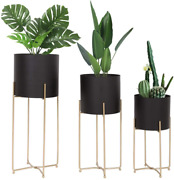 Mid Century Planter With Gold Plant Stand, 3 Pcs Modern Planters For Indoor Set