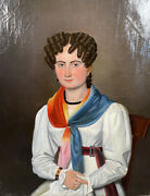 Stunning Antique Oil Portrait Painting French Woman 19th Century Lady Signed