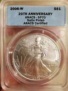 2006-w 20th Anniversary Set Burnished Silver Eagle Anacs Sp70/ms70