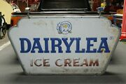 1950and039s Miss Dairylea Ice Cream Double Sided Embossed Metal Hanging Sign