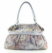 Fendi Chef Shoulder Bag Multicolor Zucca Canvas With Lizard Embossed Leather