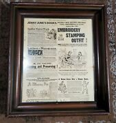 1887 Ladyand039s Home Journal Page In 19th Century Brown Wood Picture Frame 16 X 14