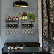 Wine Racks Wall Mounted With 8 Stem Glass Holder,2-tiers Rustic Metal Hanging Us