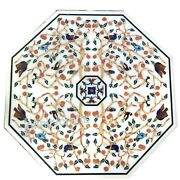Marble Dining Table Top Floral Design Inlaid Corner Table For Home Decor 36 Inch