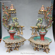 16 Turquoise Coral Phoenix 8 Treasure Candlestick Candle Holder Oil Lamp Pair