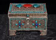 6tibet Silver Filigree Inlay Turquoise Coral Dynasty Jewelry Storage Box Boxes