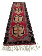 Old Hand Knotted Turkish Malatya Wool Rug 349-20 Size 3and0399x12and03910