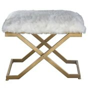 23.63 Inch Fur Small Bench Soft White/antiqued Gold Leaf Finish - Furniture -