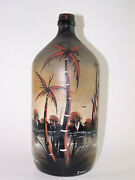 Vintage Hand Painted Glass Rum Bottle - 11.5 Inches Tall - Signed Zuma