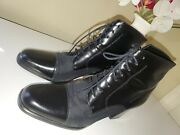 Calico Whatahike Black Leather/fabric Lace-up High Heel Oxford Bootie Sz. 85m
