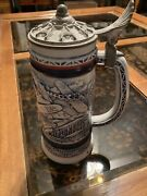 Vintage Planes Beer Stein Made In Brazil Avon 1981 Blue And White Pewter Lid