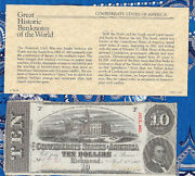 Great Historic Banknotes 1863 Csa 10 Confederate T59 1st Series