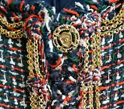 Rare Jacket Gold Chains Navy Red White Tweed Cc Logo Buttons 08p Fr 38 40