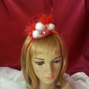 Red Mini Hat Red Fascinator Holiday Fascinator Small Red Hat Christmas Hat