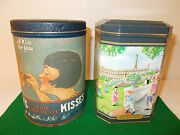 2 Vintage Hersheyand039s Tin Cans A Kiss For You- 1980 Ice Cream Social-1994