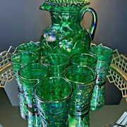 Fenton Green Carnival Iridescent Apple Pitcher 8 Tumblers Vintage Glass N164
