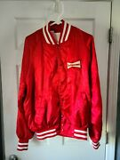 Vintage Menand039s Budweiser Double Sided Red Satin Coaches Jacket X-large