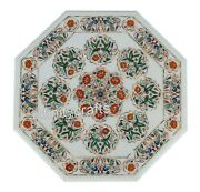 Marble Dining Table Top Inlay Multi Color Stones Office Meeting Table 36 Inches